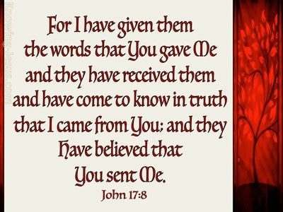 John 17:8 They Have Received Your Words (red)
