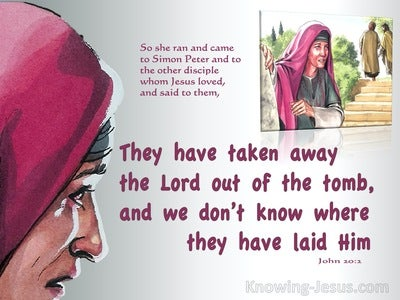 John 20:2 Mary Ran To Simon Peter And The Other Disciple (red)