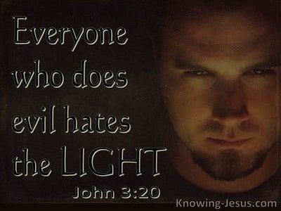 John 3:20 The Evil Doer Hates The Light (brown)