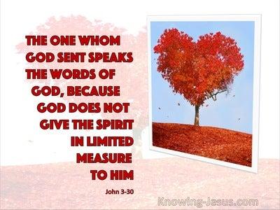 John 3:30 John 3:30 He Speaks The Word Of God (red)