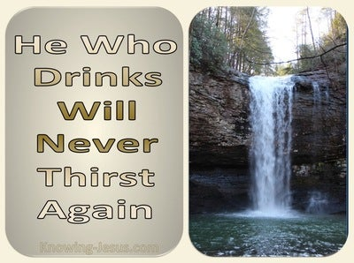 John 4:14 He Who Drinks Will Never Thirst Again (gold)