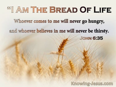 John 6:35 I Am The Bread Of Life Whoever Comes To Me Will Never Hinger Or Thirst (blue)