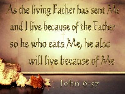 John 6:57 He Who Eats Of Me Will Live (brown)