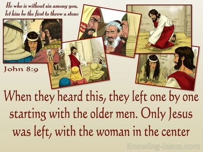 John 8:9 Only Jesus Was Left With The Woman (beige)