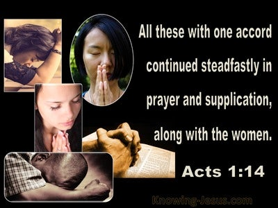 Acts 1:14 United Together In Prayer (beige)