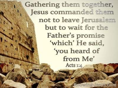 Acts 1:4 Do Not Leave Jerusalem But Wait (beige)