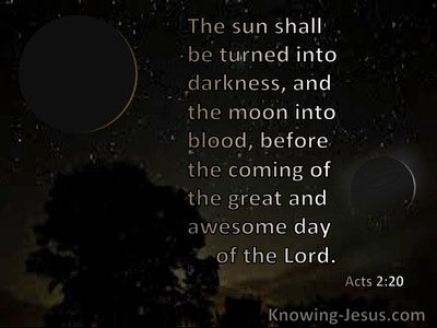 Acts 2:20 The Sun Shall Be Turned To Darkness And The Moon To Blood Before The Awesome Day Of The Lord (black)
