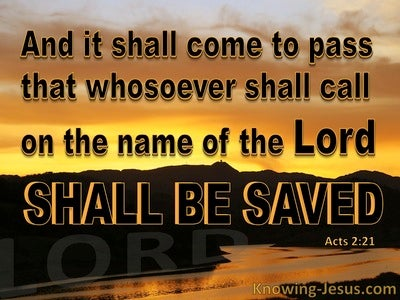 Acts 2:21 Whoever Calls On The Name Of The Lord Will Be Saved (orange)