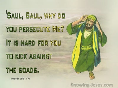 Acts 26:14 Saul Why Are You Pesecuting Me It Is Hard To Kick Against The Goads (green)