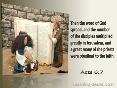 Acts 6:7 The Word Of God Spread And The Number Of Disciples Multiplied (brown)