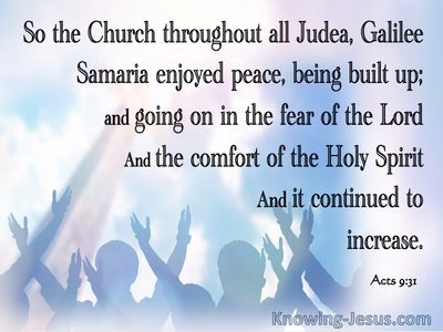 Acts 9:31 The Church Enjoyed Peace And Comfort (blue)
