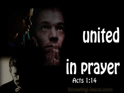 Acts 1:14 United Together In Prayer (white)