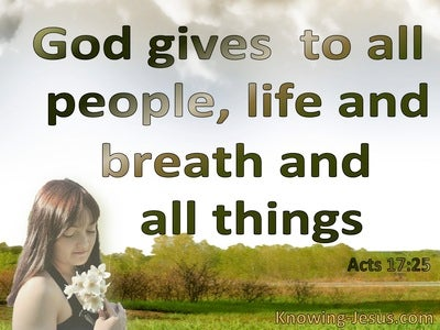 Acts 17:25 God Is Not Served By Human Hands (green)