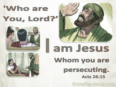 Acts 26:15 Who Are You. Jesus Whom You Are Persecuting (gray)