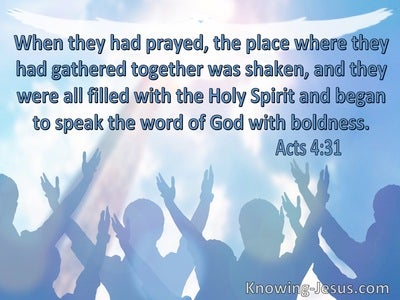 Acts 4:31 They Were All Filled With The Holy Spirit (blue)