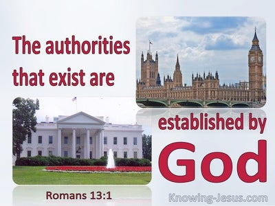 Romans 13:1 The Authorities That Exist Are Established By God (red)
