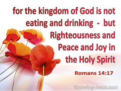 Romans 14:17 The Kingdom Is Righteousness Peace Joy In The Holy Spirit (orange)
