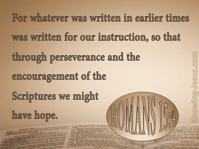 Romans 15:4 Scripure Was Written For Our Learning (beige)
