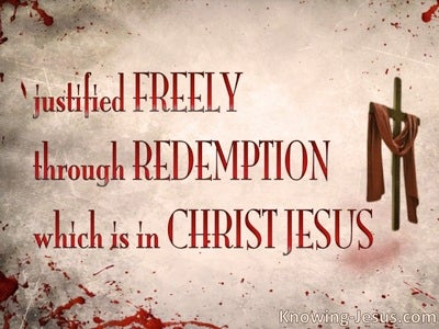 Romans 3:24 Justified Freely Through Redemption (pink)