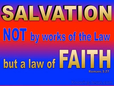 Romans 3:27 Not Of Word But Faith (red)