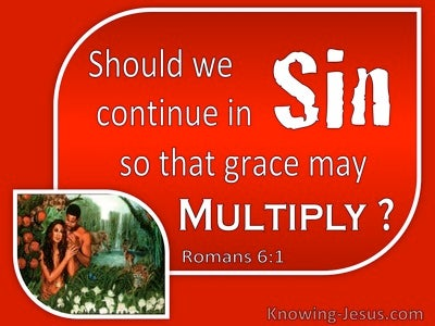 Romans 6:1 Should We Continue In Sin So That Grace May Multiply (red)