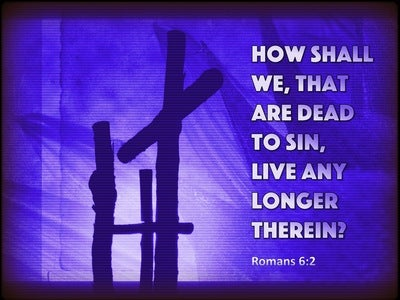 Romans 6:2 How Shall We, That Are Dead To Sin, Live Any Longer Therein (purple)