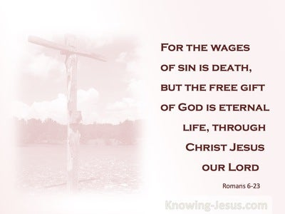 Romans 6:23 The Wages of Sin IS Death (pink)