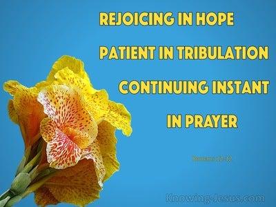 Romans 12:12 Rejoice in Hope (blue)