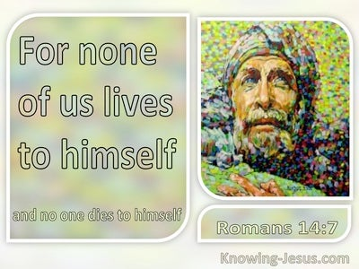 Romans 14:7 For None Of Us Lives To Himself (gray)
