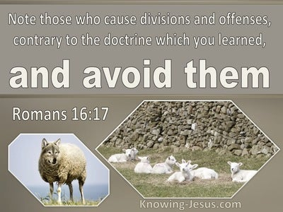 Romans 16:17 Note Those Who Cause Division Contrary To Doctrine (beige)