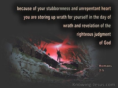 Romans 2:5 You Are Storing Up Wrath For Yourself (gray)