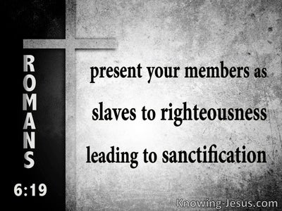 Romans 6:19 Present Your Members As Slaves To Righteousness (gray)