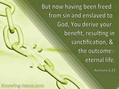 Romans 6:22 Freed From Sin And Enslaved To God (green)