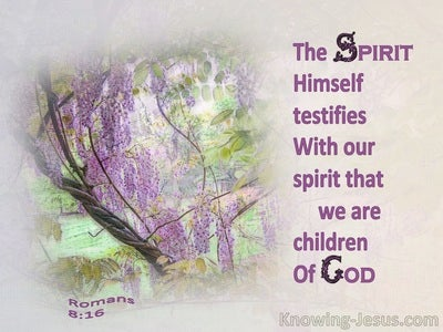 Romans 8:16 The Spirit Himself Testifies With Our Spirit That We Are Children Of God (purple)