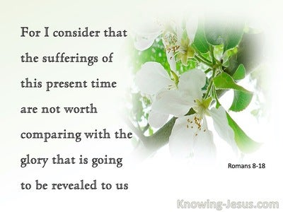 Romans 8:18 I Consider The Sufferings Of This Present Time Are Not Worth Comparing With The Glory To Come  (green)