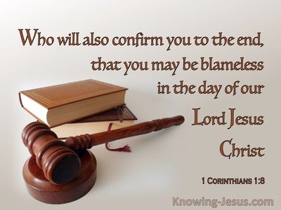 1 Corinthians 1:8 That You May Be Blameless 1:8 (brown)