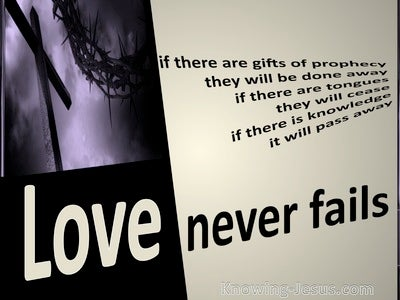1 Corinthians 13:8 Love Never Fails (beige)