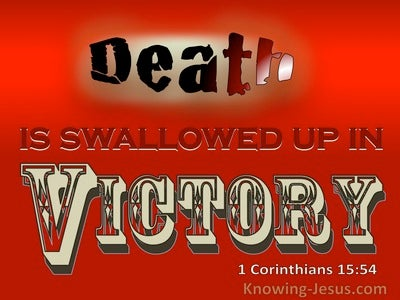 1 Corinthians 15:54 Death Is Swallowed Up In Victory (red)