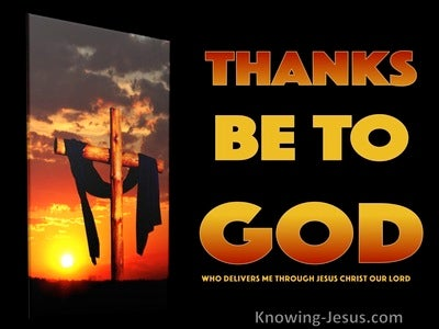 1 Corinthians 15:57 Thanks Be To God (orange)