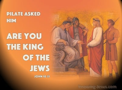 John 18:33 Pilate Asked Him Are You The King Of The Jews (orange)
