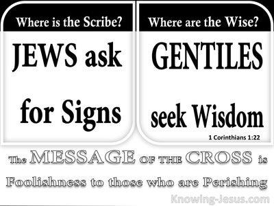 1 Corinthians 1:22 Jews Ask For Signs Gentiles Seek Wisdom (black)