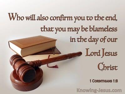 1 Corinthians 1:8 That You May Be Blameless 1:8 (brown)