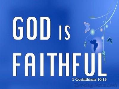 1 Corinthians 10:13 God Is Faithful (blue)