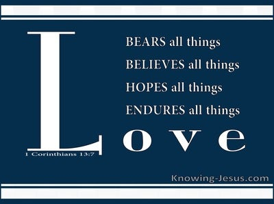 1 Corinthians 13:7 Endures Bears All Things (navy)