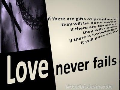 1 Corinthians 13:8 Love Never Fails (beige)