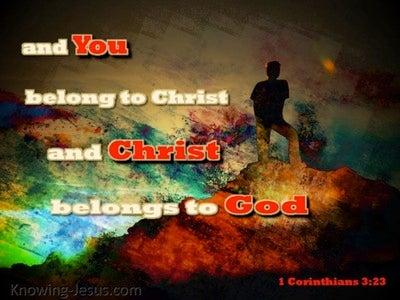 1 Corinthians 3:23 Christ Belongs To God (brown)