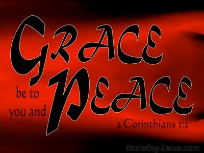 2 Corinthians 1:2 Grace Be To You And Peace (red)