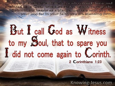 2 Corinthians 1:23 God As Witness To My Soul (white)