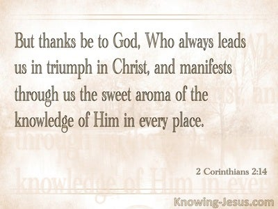 2 Corinthians 2:14 Thanks To God (beige)