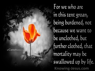 2 Corinthians 5:4 We Who Are In This Tent Groan, Being Burdened (black)